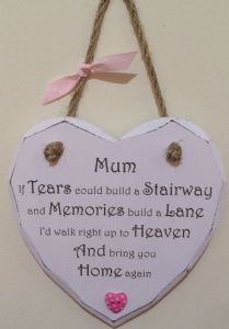 Mum Tears to Heaven Hanging Heart